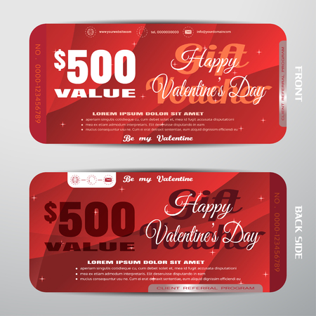 Vector Happy Valentines Day gift voucher on the red gradient background with stars, convex pattern.