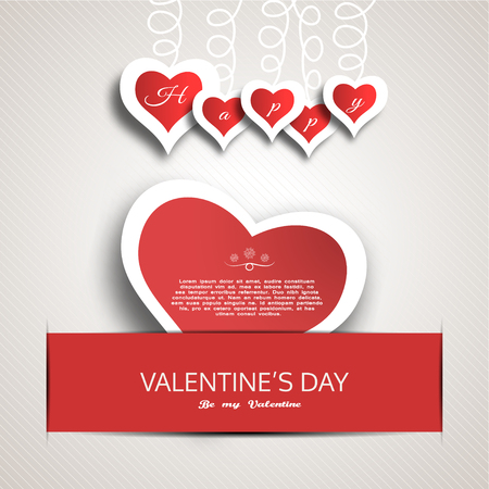 slot in: Happy Valentines Day greeting card with red paper heart insert in the red slot with shadow. Illustration