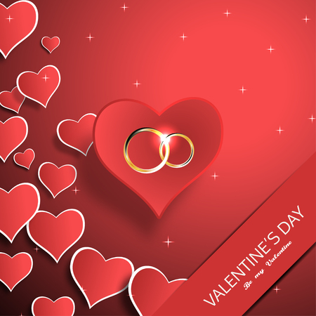 Vector Happy Valentines Day greeting card with red paper hearts, wedding rings and slot with shadow. Illustration