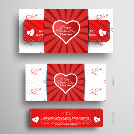 Vector set of greeting card for Valentines Day with insert stripe and red pattern on the gray background. Illustration
