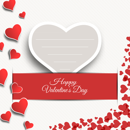 slot in: Vector Happy Valentines Day blank greeting card with gray paper heart insert in the red slot with shadow.