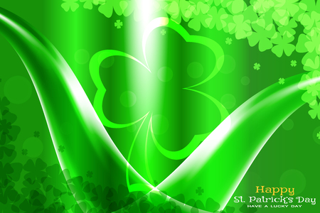 Abstract gradient green vector background for Happy Saint Patricks Day with leaves of clover pattern, glowing waves and silhouette.