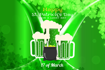 Happy St. Patricks Day vector poster on the gradient dark green background with waves, goblets of beer and cauldron with coins.