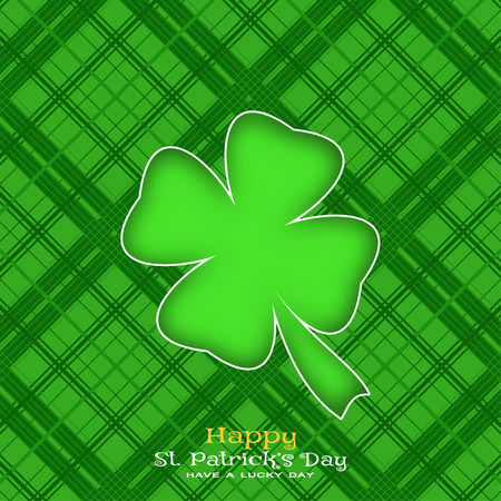Happy St. Patricks Day vector poster on the green line pattern background, leaf of clover silhouette cut from paper, shadow, text.