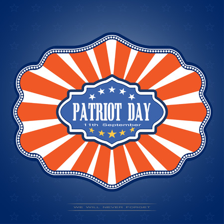 Patriot Day - picture on a gradient blue background with stars. illustration of Patriot Day with badge on a dark blue background with stars.