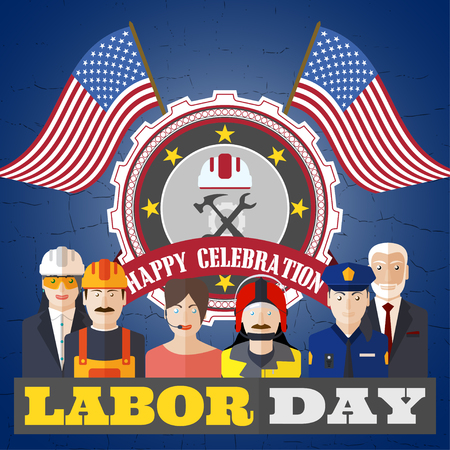 power wrench: poster of Happy Labor Day with different professions on the background with label and flags.