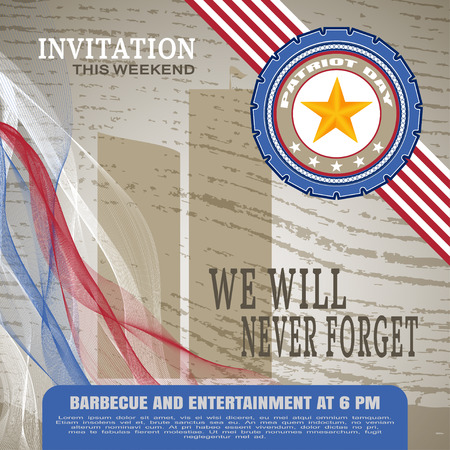 Patriot Day invitation - picture on a brown background with wood texture.