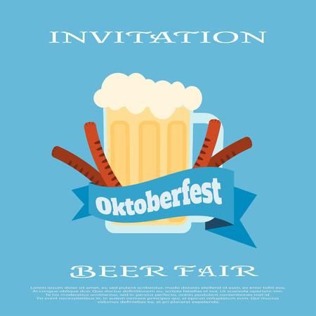 jarra de cerveza: poster of Oktoberfest fair with beer mug on the blue background.