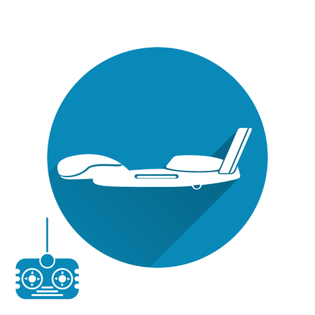 isolated icon of drone silhouette with shadow and remote control on the blue background.