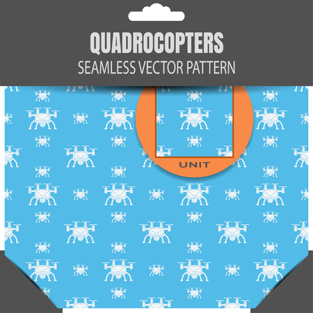 radio unit: Package of seamless pattern of quadrocopters on the blue background with allocation. Illustration