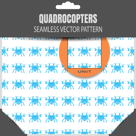 radio unit: seamless pattern of drones on the white background in the package.