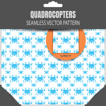 radio unit: seamless pattern of quadrocopters on the white background in the package.