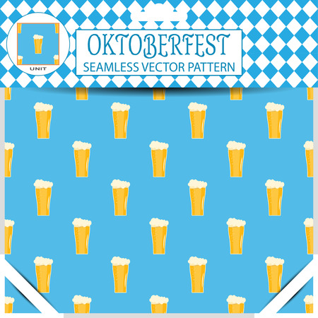 mail slot: Seamless pattern of Oktoberfest with goblet of beer on the blue background in the package.