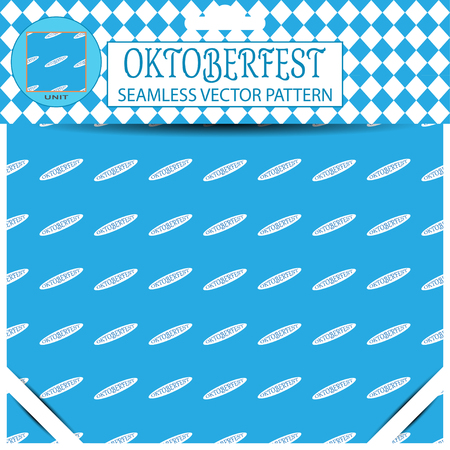 mail slot: Seamless pattern of Oktoberfest with text on the blue background in the package.