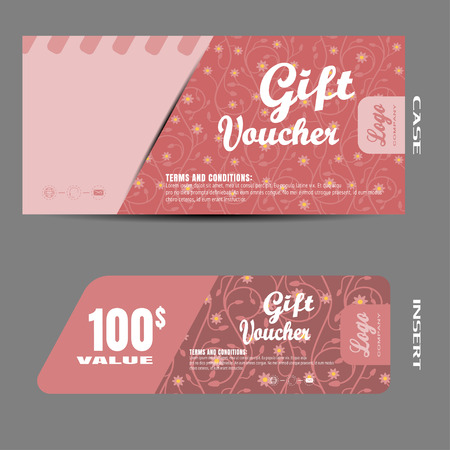 mail slot: Blank of gift voucher illustration to increase sales.on the pink background with floral pattern. Illustration