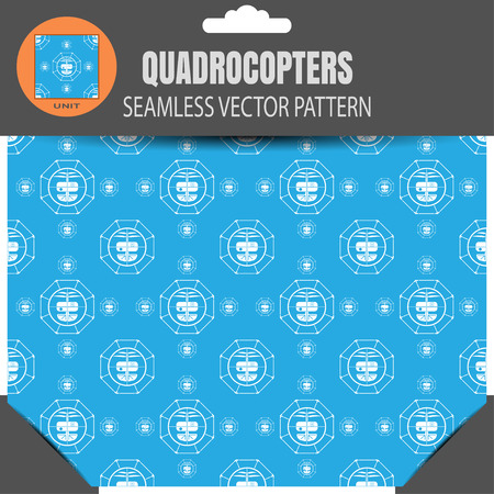 radio unit: Package of seamless pattern of drones with the shell on the blue background with pattern unit in the top.