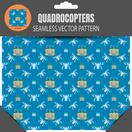 seamless pattern of quadrocopters and remote controls on the dark blue background in package with pattern unit in the top.