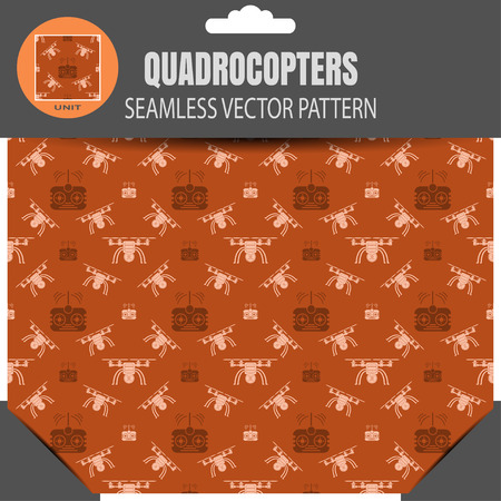 radio unit: seamless pattern of quadrocopters and remote controls on the brown background in package with pattern unit in the top. Illustration