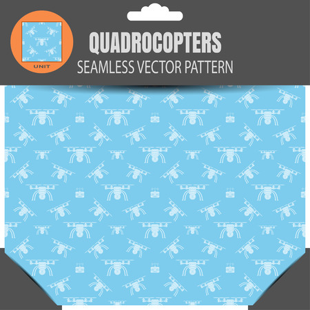 radio unit: seamless pattern of quadrocopters and remote controls on the light blue background in retail package with pattern unit in the top. Illustration