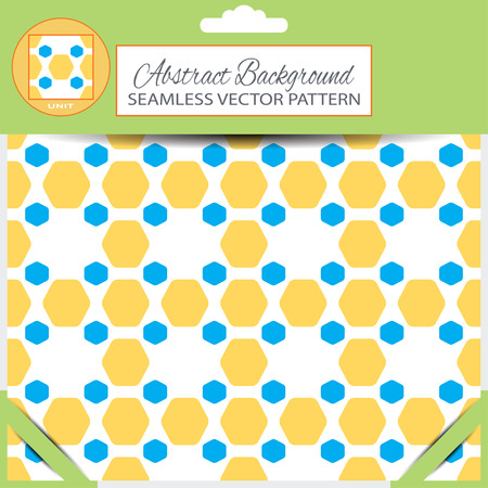 inscribed: abstract seamless pattern with yellow and blue hexagon shapes on the white background with pattern unit in the top of green retail package.