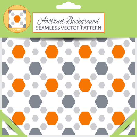 inscribed: abstract seamless pattern with orange and gray hexagon shapes on the white background with pattern unit at the top of the green retail packaging.