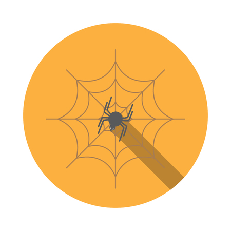 isolated icon of spider on the spidernet with shadow for Halloween. Illustration