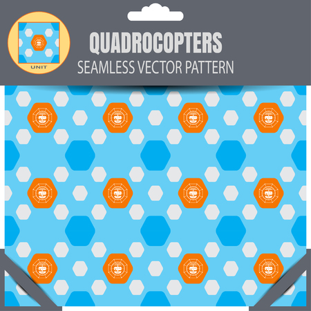 radio unit: Package of seamless pattern of quadrocopters in the orange hexagon shapes on the blue background with pattern unit in the top.