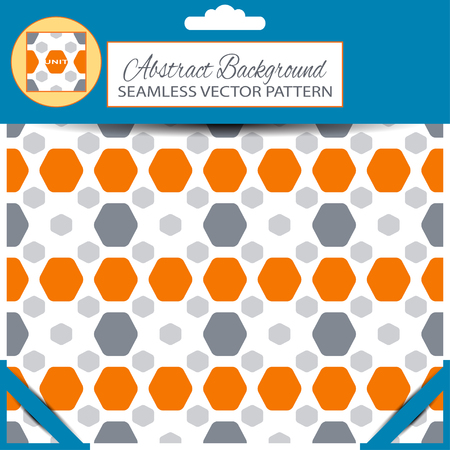 inscribed: Blue retail package of abstract seamless pattern with orange and gray hexagon shapes on the white background with pattern unit in the top.