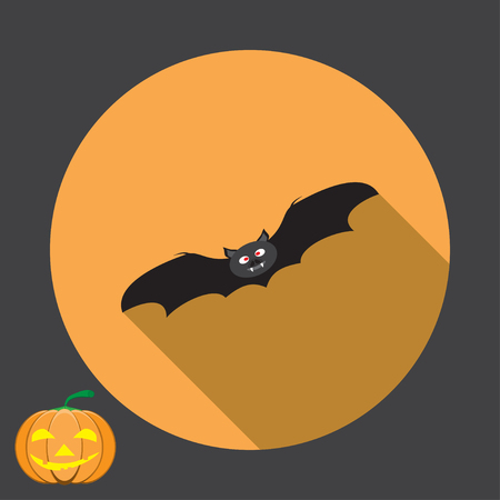 isolated icon of black bat with shadow for Halloween