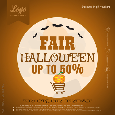 poster of Halloween fair with pumpkin, bats, moon and cart.