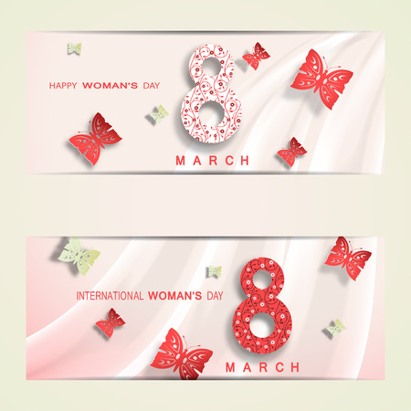 day light: Happy International Womans Day vector cards with floral pattern on the numbers date, red and green butterflies cut from paper with shadow and waves on the light green background.