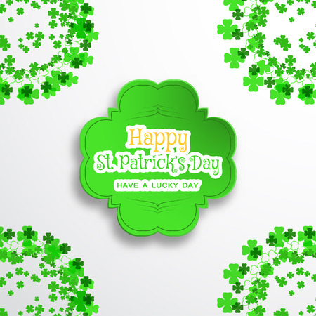 Happy Saint Patricks Day vector poster on the gradient gray background with green shape cut from paper, shadow, text and clover leaves arranged at the corners.