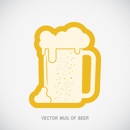 Vector isolated yellow icon with mug of beer on the gradient gray background. Illustration