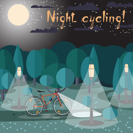 Vector poster of cycling at night in the park.