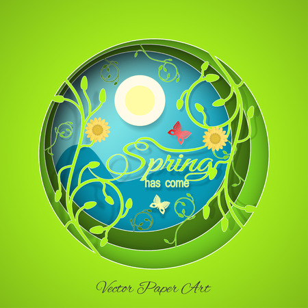 Multilayered Spring has come vector poster in style of the paper art carve on the gradient sunny blue and green background with floral pattern, sun, butterflies and flowers.