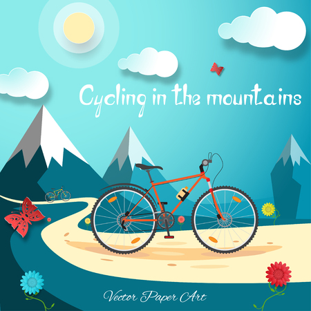 Vector poster of Cycling in the mountains on the gradient blue background with sun. Vector Illustration