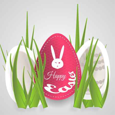 Vector paper art of Easter eggs with different pattern, rabbit white head silhouette, dots, text and grass on the gradient light gray background. Illustration
