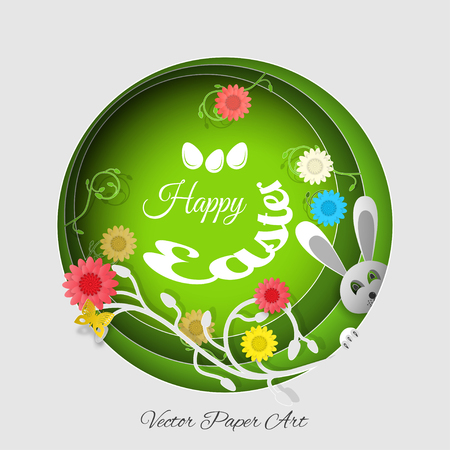 Vector multilayer paper art carve for Easter with peeping rabbit gray head, eggs, flowers, butterflies, shadows and text on the gradient gray and green background.