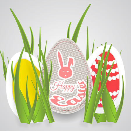 Vector paper art of Easter eggs with different pattern, rabbit head silhouette, red text and grass on the gradient light gray background. Illustration
