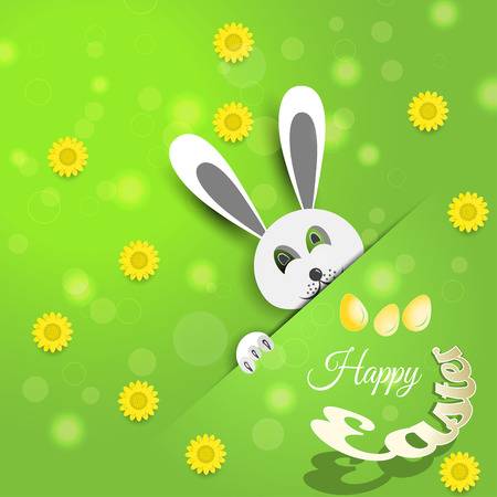 Vector poster of Happy Easter on the gradient green background with rabbit, flowers, eggs, radiance and text cut from paper. Illustration