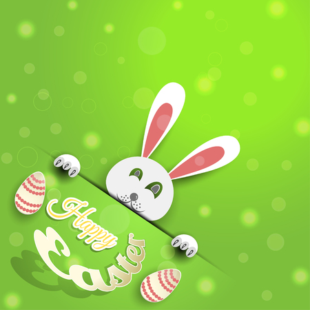 Vector poster of Happy Easter on the gradient green background with rabbit, egg, radiance and text cut from paper. Illustration