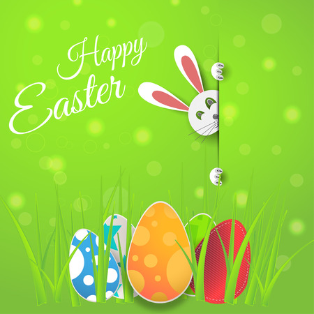 Vector poster of Happy Easter on the gradient green background with bunny, egg, radiance and text cut from paper. Illustration