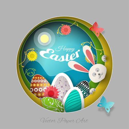 Vector multilayer paper art carve for Easter with peeping bunny, eggs, flowers, butterflies, shadows and text on the gradient gray, yellow and green background.