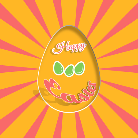 Vector poster of Happy Easter on the yellow background with dangling silhouette of an egg, red ray and text cut from paper.
