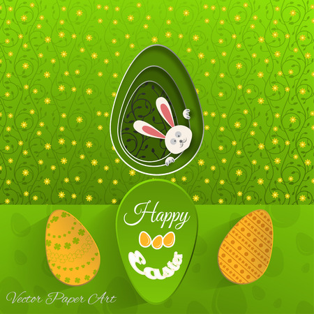 Vector poster of Happy Easter on the gradient green background with rabbit hole, eggs, green floral pattern and text cut from paper.