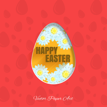 Vector poster of Happy Easter egg with flowers, text and shadow on the red background with pattern.