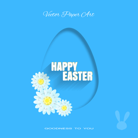 Vector poster of Happy Easter on the blue background with dangling silhouette of an egg, bunny silhouette, light blue flowers and text with shadow cut from paper.