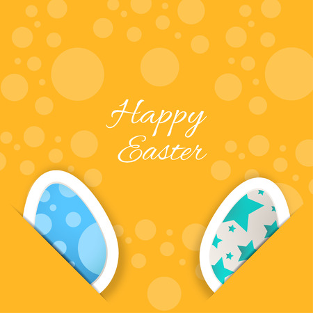 Vector poster of Happy Easter on the yellow background with eggs put in the pockets, pattern from circles and text cut from paper.