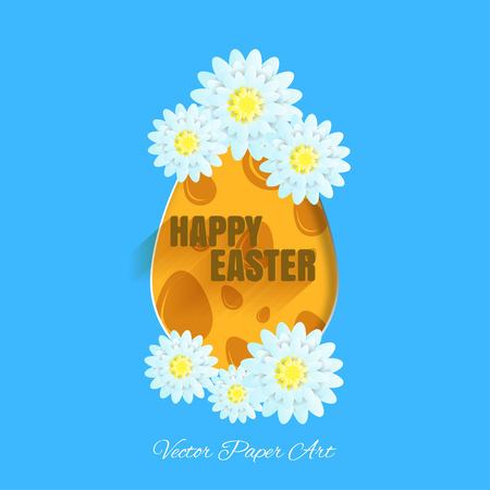 Vector poster of Happy Easter on the blue background with label, egg with yellow pattern from eggs, light blue flowers and text with shadow cut from paper.