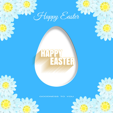 Vector poster of Happy Easter on the blue background with label, egg, light blue flowers and text with shadow cut from paper.